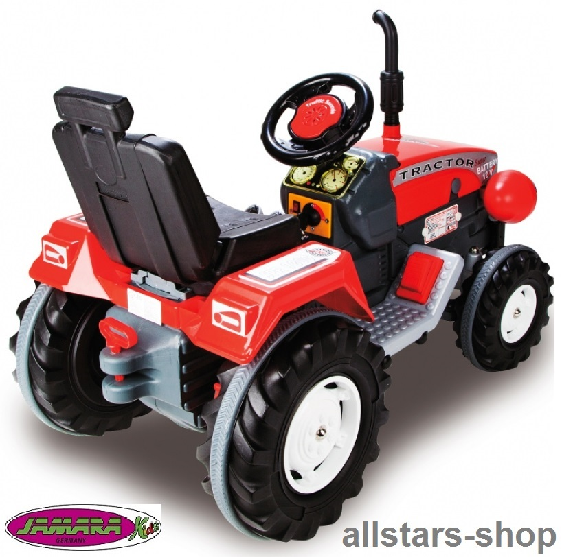 jamara kinder auto ride on traktor mit elektromotor trecker elektro tractor rot spiel und. Black Bedroom Furniture Sets. Home Design Ideas