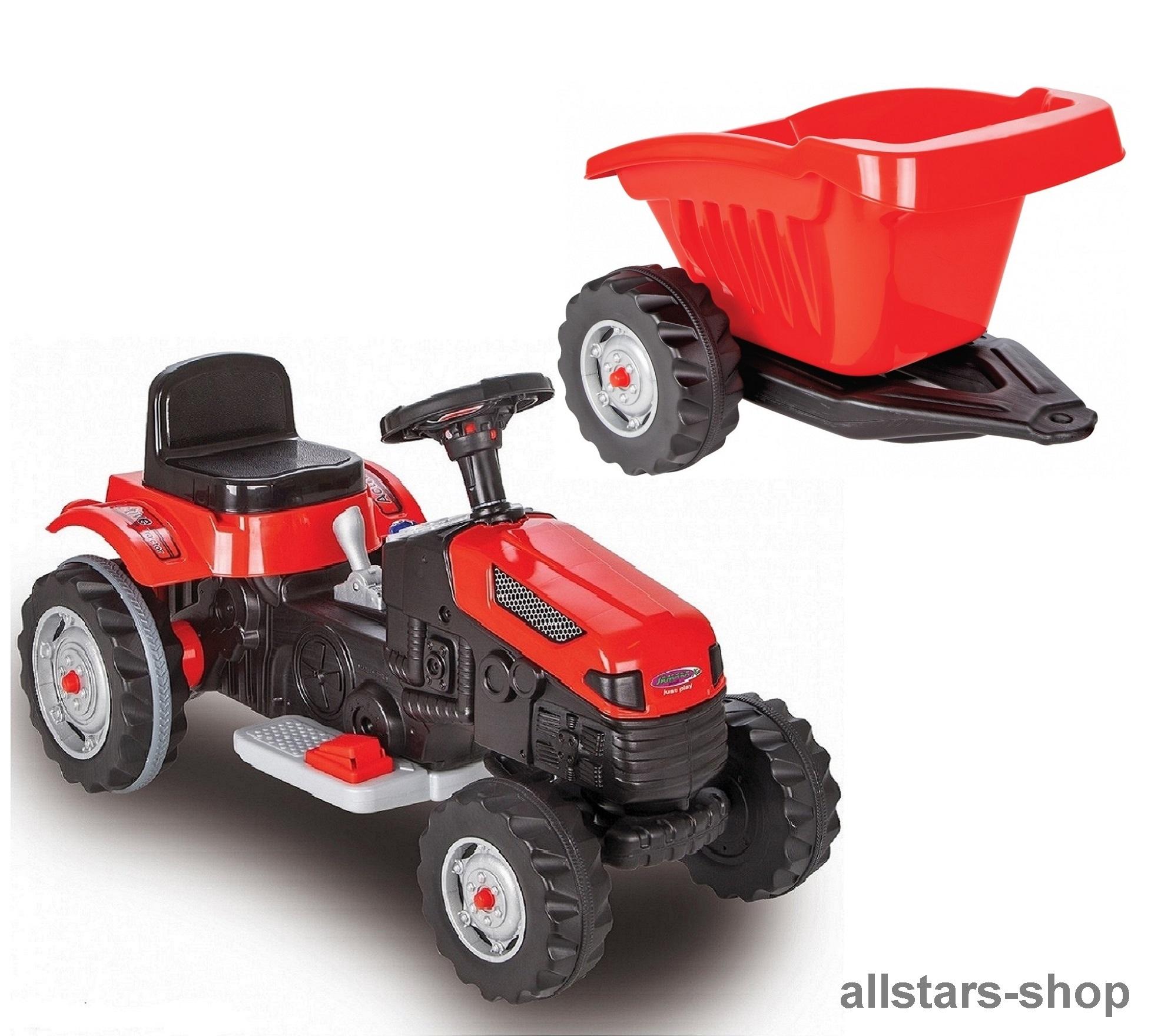 Traktor rot mit Anhänger aus Holz Trecker