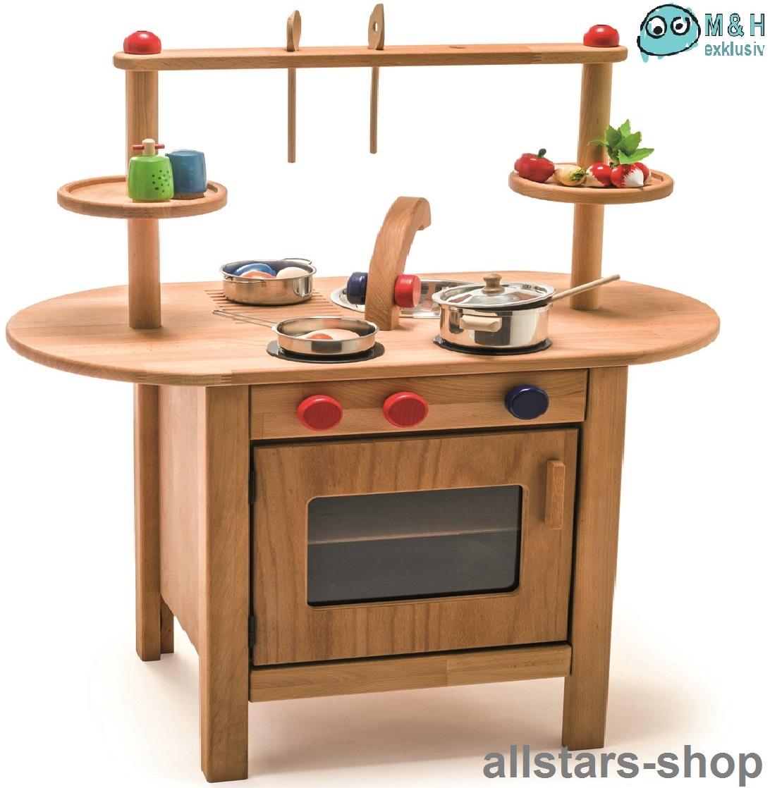 Allstars Spielküche Kinderküche Holz Mini-Pantryküche aus Massivholz mit  Spülbecken und Backofen
