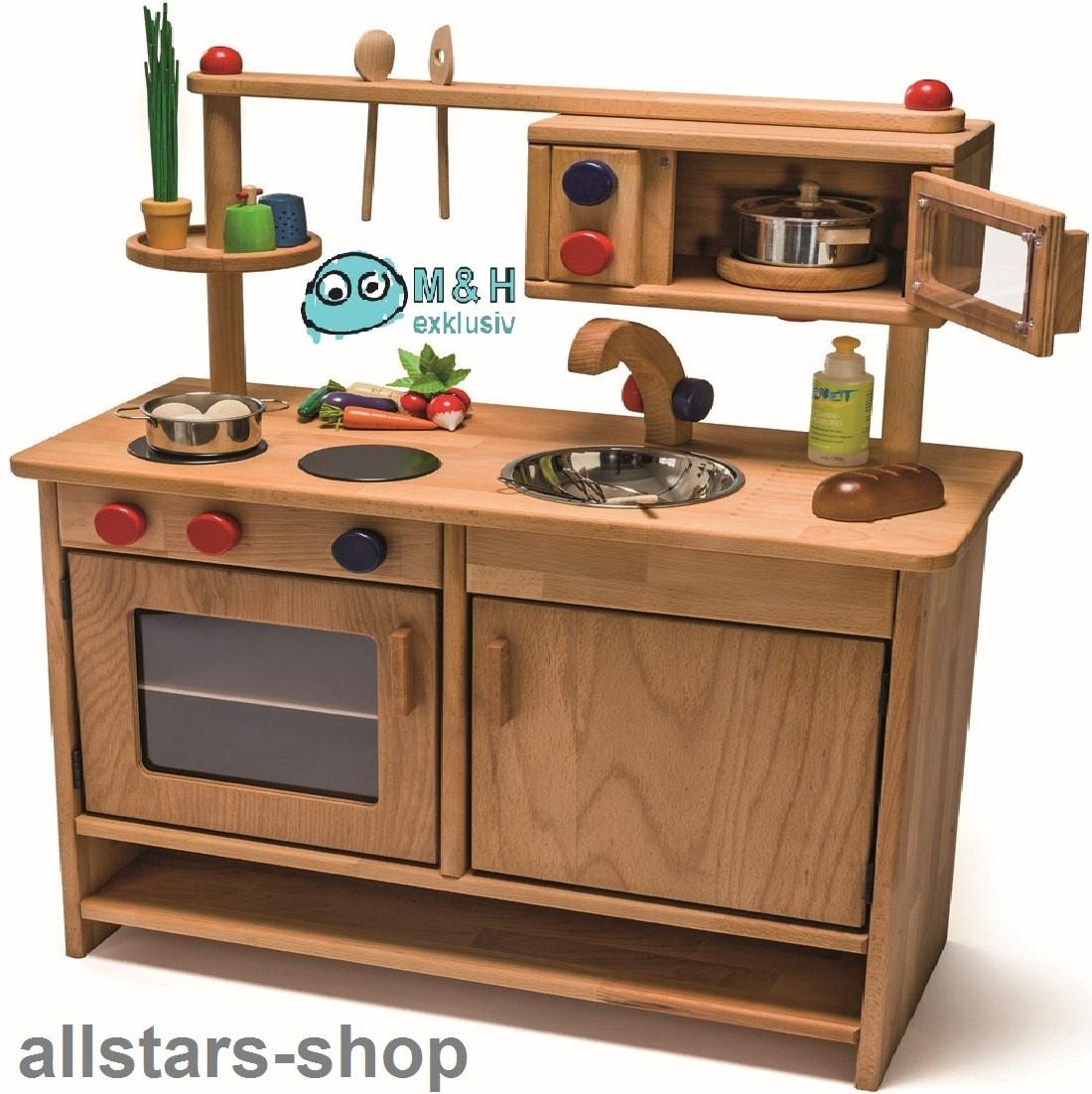 Allstars Spielküche Kinderküche Holz Pantryküche aus Massivholz mit  Spülbecken und Mikrowelle