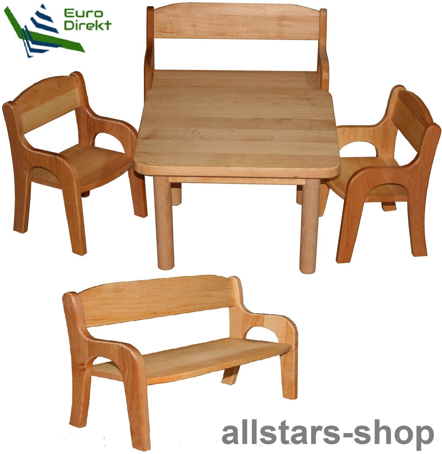 Puppen & Zubehör Möbel allstars Puppentisch Tisch Bank Holz Puppenmöbel Set Spielmöbel Schöllner